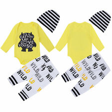 3PCS Infant Baby Boys Girls Letter Printed Outfit Long Sleeves Romper Pants Hat
