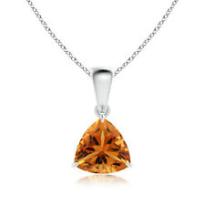 "Solitaire Natural Citrine Trillion Pendant Necklace 18"" Chain 14k White Gold"