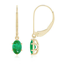 Leverback Six Prong Set Oval Natural Emerald Drop Earrings in 14k Yellow Gold