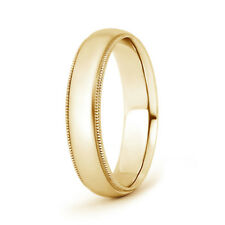 Solid Yellow Gold Mens Wedding Band Dome Milgrain Edge 5mm 4.9g  Ring Size 4-14