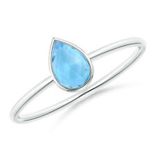 Pear-Shape Swiss Blue Topaz Solitaire Ring in 14k White Gold/ Silver Size 3-13