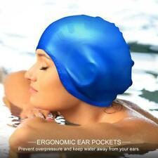 Waterproof Swimming Adults Silicone Stretch Latex Swim Cap Bathing Hat Ear Cup