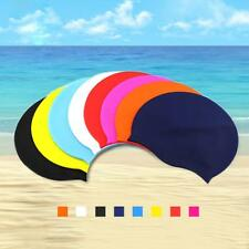 Silicone Unisex Men Women Adult Swimming Pool Swim Cap Hat Protect Waterproof LW