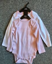 New Baby Girls Exstore Next 2 Pack Pink Long Sleeved Vests Size 18/24 Months