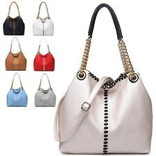 Ladies Faux Leather Woven Chain Handle Handbag Bucket Shoulder Bag Tote MM3065-3