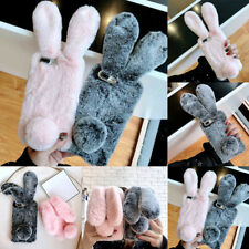3D Cute Faux Furry Fur TPU Shockproof Back Cover For iPhone Samsung Galaxy S8