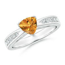 Solitaire Trillion Citrine Diamond Accents Ring 14K White Gold Size 3-13
