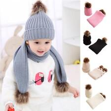 Baby Winter Warm Knit Hat Infant Toddler Kid Crochet Hat Beanie Cap with Scarf