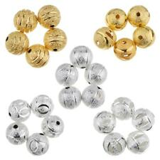 50pcs/Lot Retro Flower Metal Copper Round Spacer Loose Beads 10mm for DIY