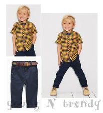 BNWT NEXT 12-18 months YELLOW/NAVY BLUE CHECKED SHIRT*BOW TIE*TROUSERS*BELT SET