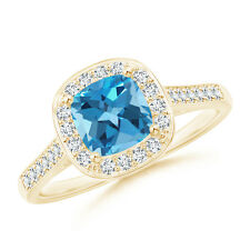 Vintage Style Cushion Swiss Blue Topaz Ring with Diamond Halo 14K Yellow Gold