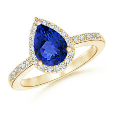 Pear Shaped Tanzanite Engagement Ring with Diamond Halo 14K Yellow Gold