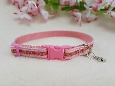 """New Cutie Pie Pink & Green Flower Dog/Puppy/Chihuahua Collar Sizes 6-8"""" or 8-10"""""""