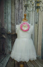 Flower girl tulle lace dress Birthday Party couture flower lace headband set