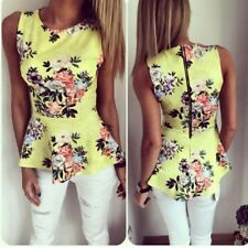 AU Women Ladies Summer Sleeveless Floral Tank Vest Polyester Blouse Tops T-Shirt