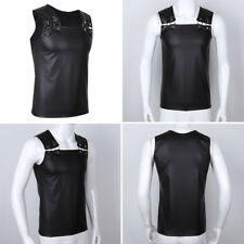 Men's Faux Leather Muscle Vest Undershirt Tank Top Sleeveless T Shirt Club Wear