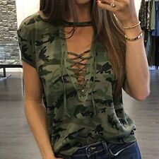 Womens Camouflage Short Sleeve V Neck sexy Shirt Casual Tops Loose T Shirt Tee