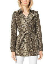 NWT $275 MICHAEL KORS Python Print Belted Trench Coat Jacket Duffle