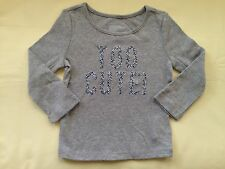 NWT BABY GAP GIRL'S LIGHT HEATHER TOO CUTE ! GRAPHIC TEE 100% COTTON