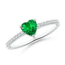 Natural Emerald Diamond Heart Engagement Ring 14k White Gold