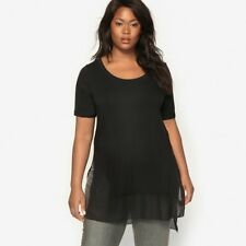 Womens Dual Fabric T-Shirt With Scooped Neckline
