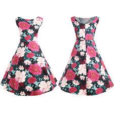 50S 60S ROCKABILLY DRESS Women Vintage Swing Floral Pinup Evening Party Dress UK