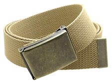 "Adjustable Canvas Web Belt military style Flip-Top Antique Brass Buckle 50"" Long"