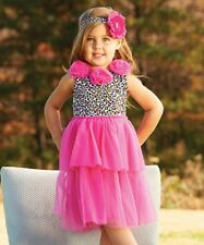 MUD PIE- Baby Girl Dress- Hot Pink Leopard Rosette ( Does not include headband)