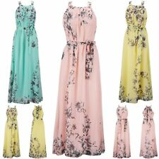 Women Long Maxi Dresses Floral Sleeveless Strappy Waist Slip Dress Evening Beach