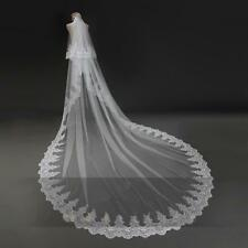2T White/Ivory Lace 3M Wedding Veil Sequins Cathedral Bridal Veils + Comb SJ0767