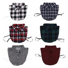 Womens Cotton Fake Collar Detachable Lapel Shirt Peter Pan Blouse Plaid