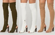 WOMENS LADIES OPEN TOE THIGH HIGH STRETCH OVER KNEE BLOCK HEELS BOOTS SHOES SIZE