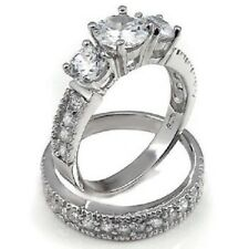STERLING SILVER Simulated Diamond Engagement Bridal Ring Set Size 9 10 11  R T V