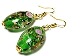 Green Pink Bead Earrings Gold Pierced or non-pierced Clips or Studs UK MADE