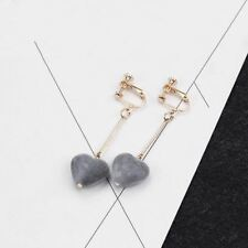 Women Zinc Alloy Metal Heart Shape Pearl Decorative Clip Earrings N419