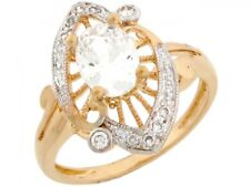 10k or 14k Two-Tone Gold Fancy Unique Ring with Brilliant Oval CZ Center