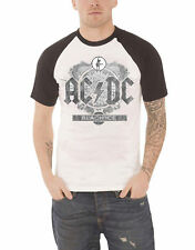 AC/DC T Shirt Black Ice band logo vintage new Official Mens White Raglan