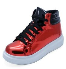 LADIES RED LACE-UP FLAT PLATFORM SKATER HI-TOP BOOTS PUMPS TRAINERS SHOES 3-8