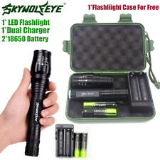 Tactical 20000LM 5 Modes T6 LED Torch Flashlight Lamp+18650Battery+Charger Top