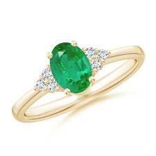 Solitaire Oval Natural Emerald Diamond Accents Engagement Ring Size 3-13