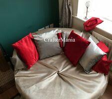 """Cushions Set of 2 Top Quality Plain Velvet Cushion Covers Grey Mink Red 17""""x17"""""""