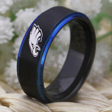 Philadelphia Eagles Sports Ring 8MM Tungsten Black With Blue Step