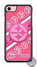 Pittsburgh Steelers Pink Glitter with name Phone Case Cover fits iPhone Samsung