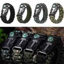 Outdoor Hiking Emergency Paracord Bracelets Fire Starter Compass Whistle BF9 01