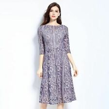 Women Purple Color Chiffon Fabric Lace Draped 3/4 Sleeve High-waist Slim Dress