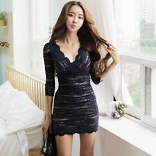 Women 3/4 Sleeve V-Neck Slim Fit Lace Decorated Office Wear Bodycon Dress