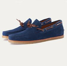 Handmade Moccasin Blue Suede Shoes , Dress Formal Casual Leather Shoes