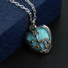 Charm Women 925 Sterling Silver Marcasite & Turquoise Heart Necklace pendant