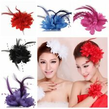 US Bridal Flower Feather Bead Hair Clips Fascinator Hairband Brooch Pin Wedding