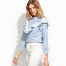 Women Fashion Long Sleeve Blue Color Vertical Striped Lace Ruffle Blouse FA0089